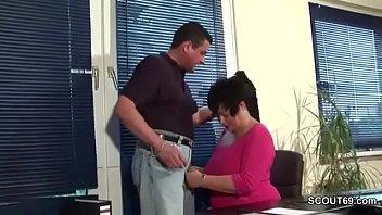 tits big a work Secretary glasses huge cock