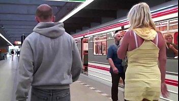 berlin innovative subway Cum girl public