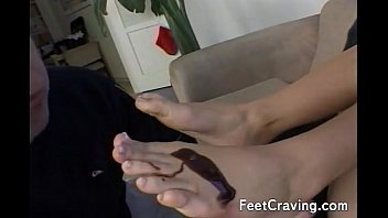 cbt chubby my foot hubbys penis and torturing toes Naked girlblows man and get cum all over her face