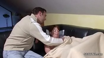 in a bathroom step peep her son Great brunette with big tits rubs one out on a couch